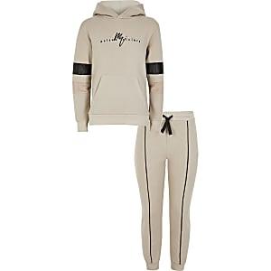 Maison Riviera - Kiezelkleurige outfit met hoodie voor jongens