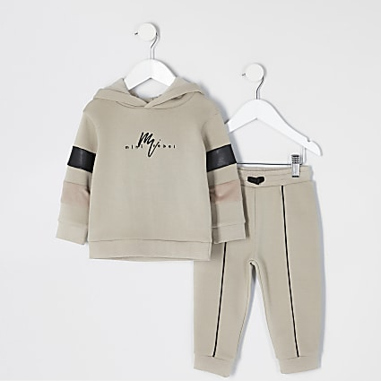 Mini boys stone blocked hoodie outfit