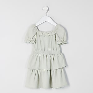 Robe patineuse verte à volants Mini fille