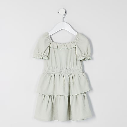 Mini girls green frill skater dress