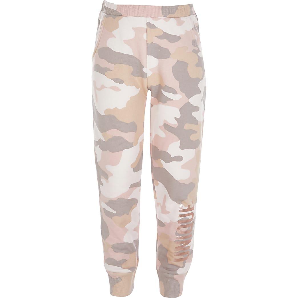 Roze camouflage joggingbroek met 'Unique'-print voor meisjes