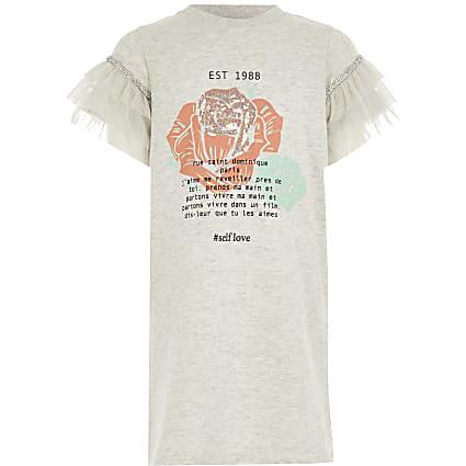 Girls grey printed mesh sleeve T-shirt dress
