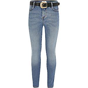 Blauwe Amelie skinny jeans met ceintuur voor meisjes