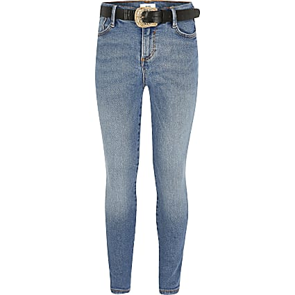 Girls blue Amelie belted skinny jeans