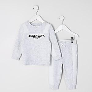 Mini - Grijze outfit met sweater met 'Legendary'-print voor jongens