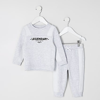 Mini boys grey 'Legendary' sweatshirt outfit