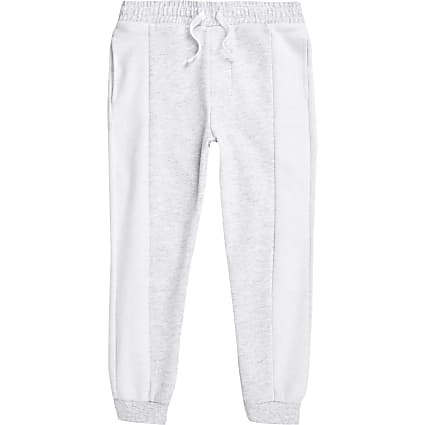 Boys light grey textured blocked joggers