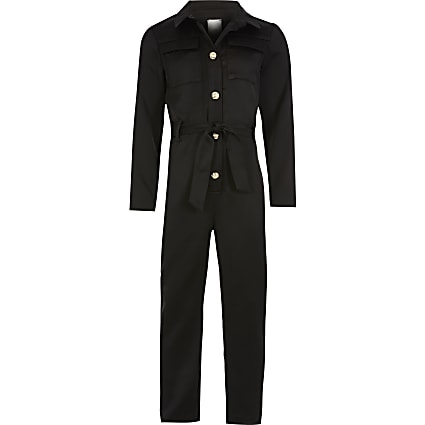 Girls black silver belted utility jumpsuit