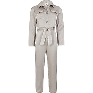 Utility-Overall in Silber mit Taillengürtel für Mädchen