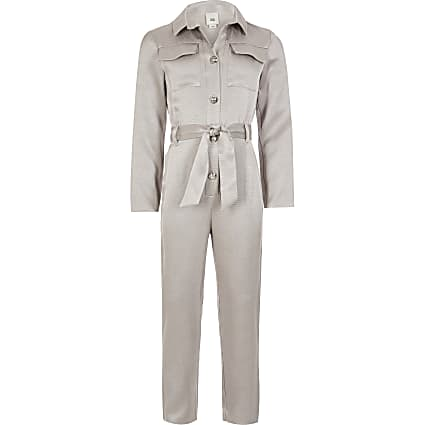 Girls silver belted waist utility jumpsuit