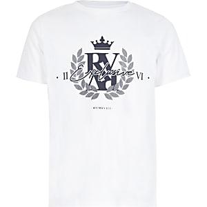 Wit T-shirt met 'Exclusive'-print voor jongens
