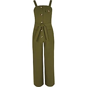 Twill-Overall in Khaki mit Taillengürtel für Mädchen