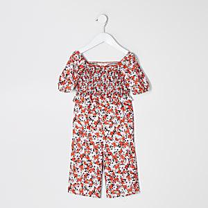 Mini - Roze jumpsuit met ruches aan de mouwen en bloemenprint voor meisjes