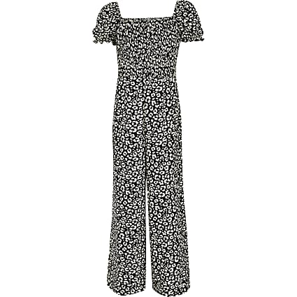 Girls black printed puff sleeve jumpsuit