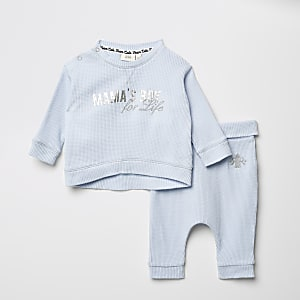 Bedrucktes Outfit mit T-Shirt in Waffelstruktur, Babyblau