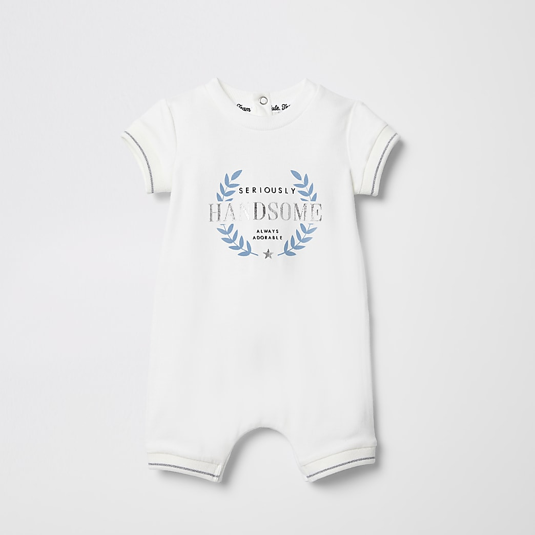 Baby white 'Seriously handsome' baby grow