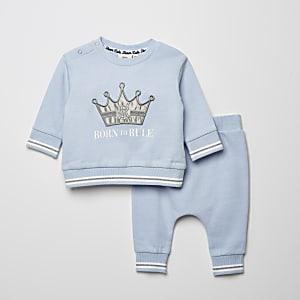 Blauwe outfit met sweater met 'Born to rule'-print voor baby's