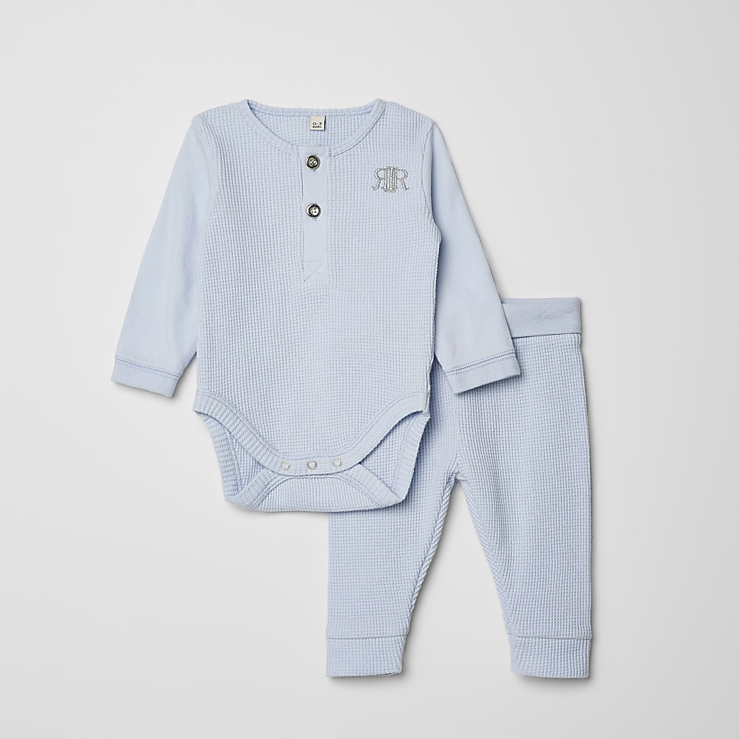 Baby blue waffle RI baby grow legging outfit
