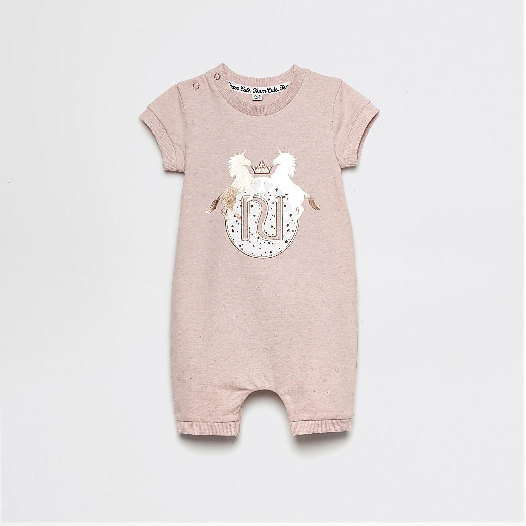 Baby pink RI unicorn printed romper