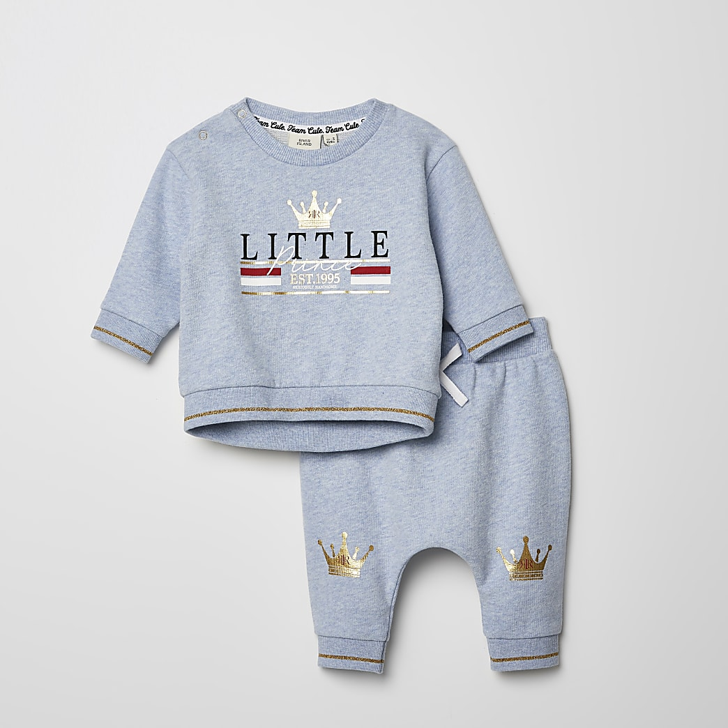 Mini boys blue printed sweatshirt outfit