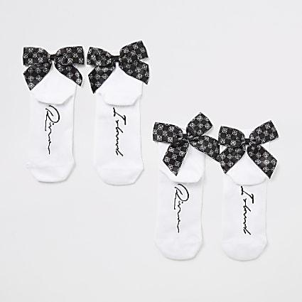 Girls white RI monogram bow socks 2 pack