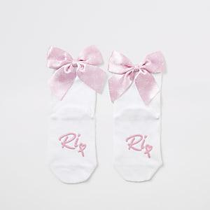 Lot de 2 paires de chaussettes à nœud avec monogramme RI roses Mini fille