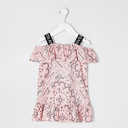 Mini girls coral bandana print bardot dress