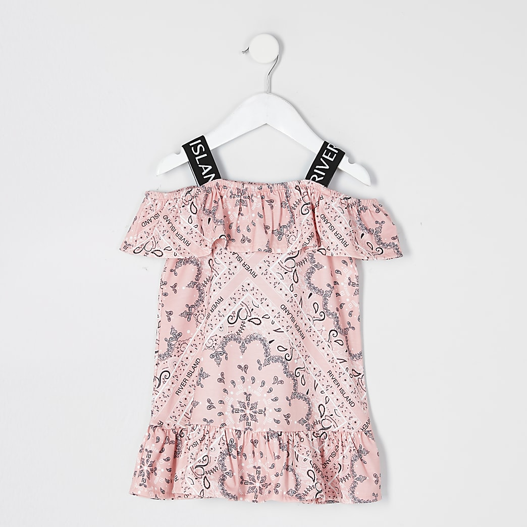 Mini girls coral bandana print bardot dress