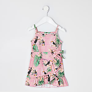 Mini – Gerüschtes Wickelkleid in Rosa mit Blumenmuster für Mädchen