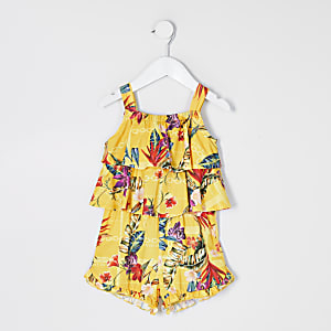 Mini girls yellow printed frill playsuit