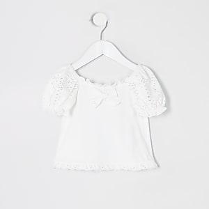 Mini – Weißes T-Shirt mit Lochstickerei und Puffärmel für Mädchen