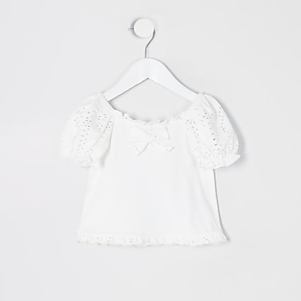 Mini girls white broderie puff sleeve T-shirt