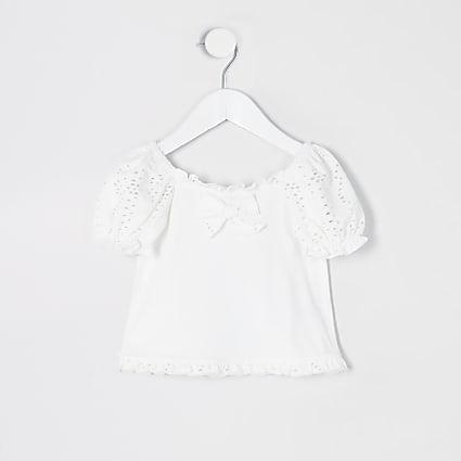 Mini girls white broderie puff sleeve T-shirt