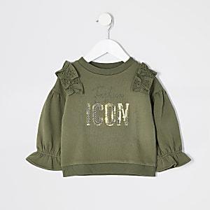 Mini - Kaki sweater met broderie ruches voor meisjes