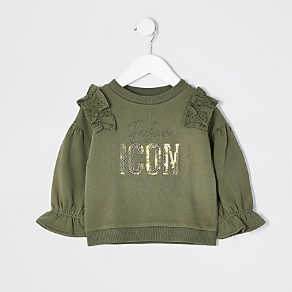 Mini girls khaki borderie frill sweatshirt