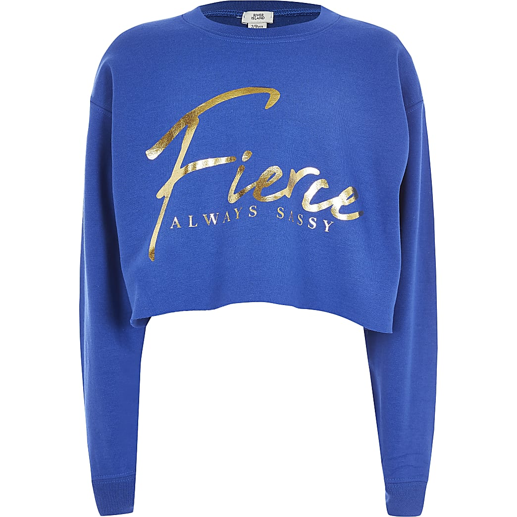 Girls blue 'Fierce' cropped sweatshirt