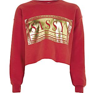 Rode sweater met 'sassy'-print voor meisjes