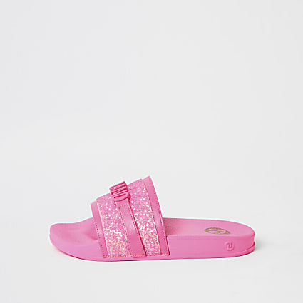 Girls pink glitter 'River Island' sliders