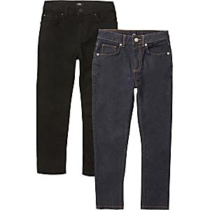 Sid – Lot de2 jeans skinnynoir et bleu pour garçon