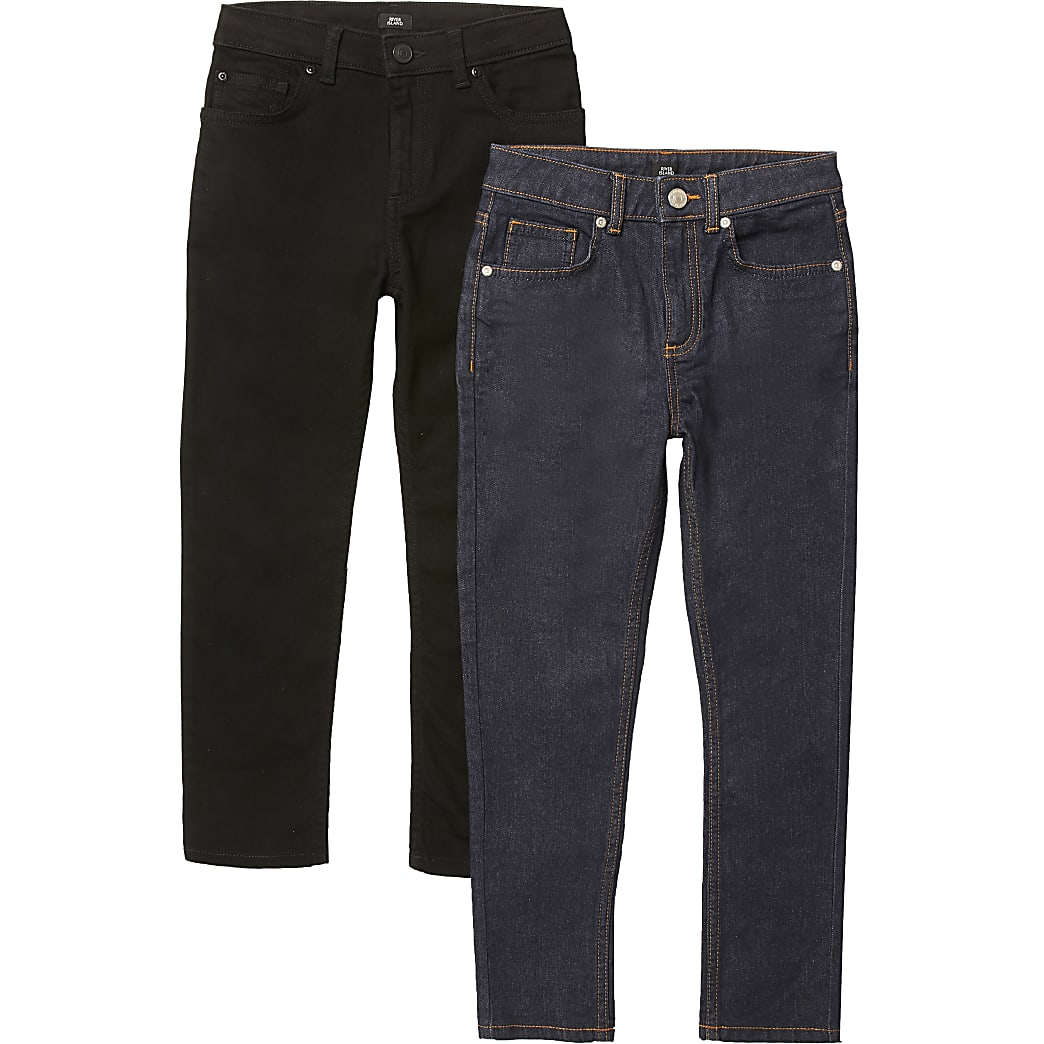 Boys black and blue Sid skinny jeans 2 pack
