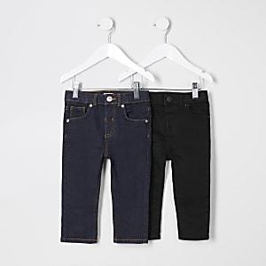 Mini boys black Sid skinny jeans 2 pack
