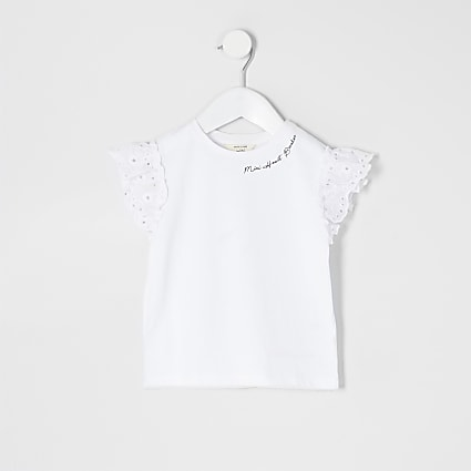 Mini girls white broderie sleeve T-shirt