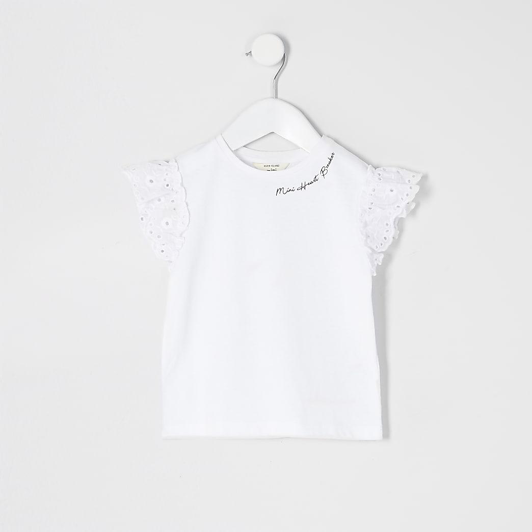 Mini girls white broderie sleeve T-shirt