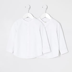 Mini – Weißes Hemd mit Großvaterkragen für Jungen im 2er-Pack