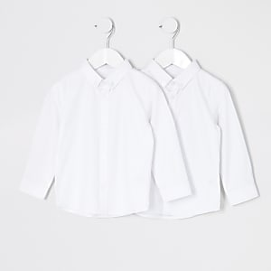 Mini – Weißes Twill-Hemd für Jungen, 2er-Set
