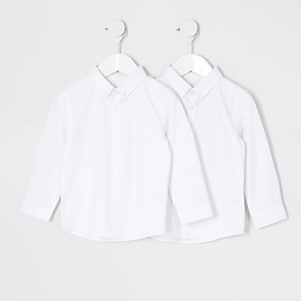 Mini boys white twill shirt 2 pack