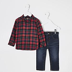 Mini - Outfit met rood geruit overhemd en jeans voor jongens