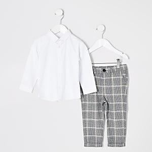 Mini – Weißes, langärmeliges Hemd-Outfit für Jungen