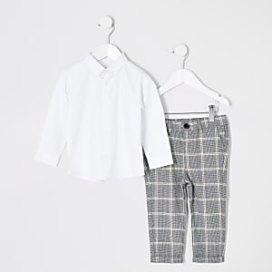 Mini boys white long sleeve shirt outfit