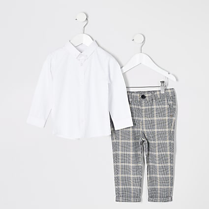 Mini boys white long sleeve shirt outfit